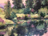 Kristen Olsen river acrylic painting purple green